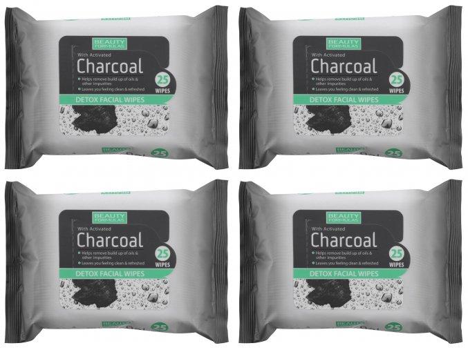 BEAUTY FORMULAS Detoxikační odličovací ubrousky s aktivním uhlím 4 x 25 ks
