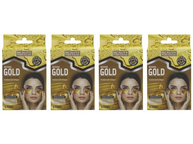 BEAUTY FORMULAS Gelové masky pod oči s kolagenem (4 x 6 párů)