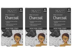 BEAUTY FORMULAS Čistící pásky na nos s aktivním uhlím (3 ks)