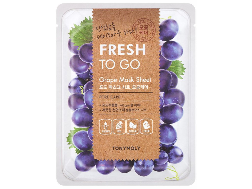 Tony Moly Fresh To Go Grape Mask Sheet textilná maska na tvár s avokádom