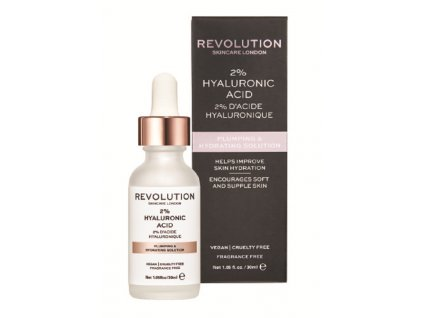 Revolution Skincare Plumping & Hydrating Solution - 2% Hyaluronic Acid, pleťové sérum s kyselinou hyalurónovou, 30ml