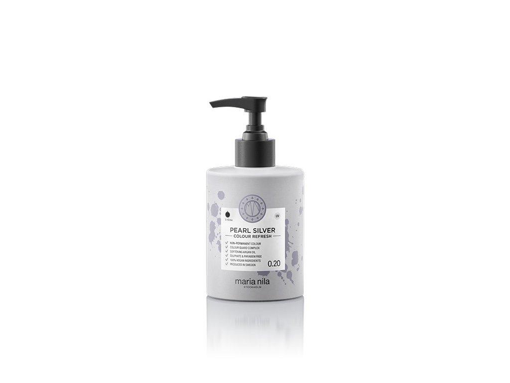 Maria Nila Colour Refresh Pearl Silver 0.20 maska s barevnými pigmenty 300 ml  + Jednorázové rukavice na barvení zdarma + Vzorek šamponu Maria Nila