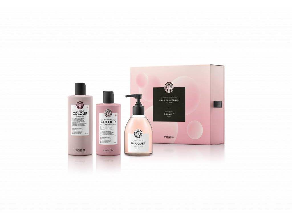 Maria Nila Luminous Colour Shampoo 350 ml + Conditioner 300 ml + Hand Soap Bouquet 300 ml dárková sada