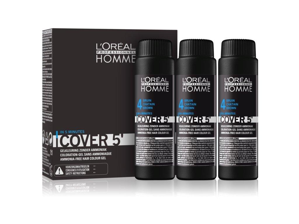 L'Oréal Homme Cover 5 4 středně hnědá 3 x 50 ml
