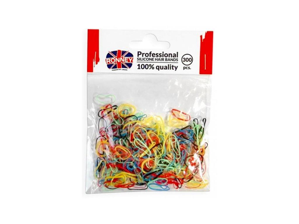 Ronney silikonové gumičky do vlasů barevné 300ks
