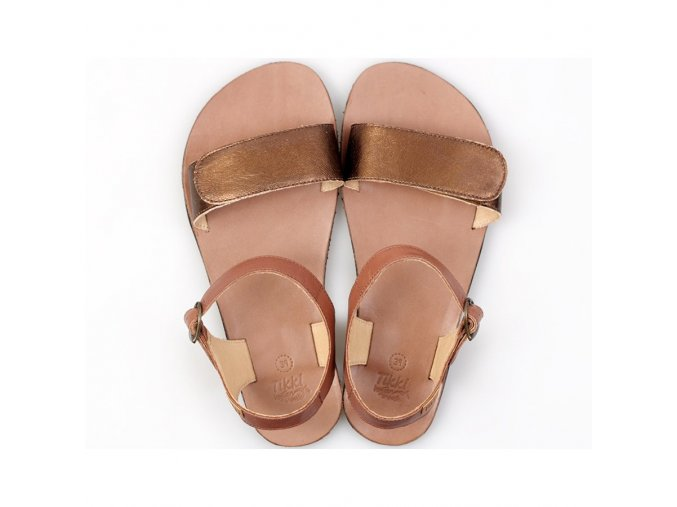 vibe barefoot women s sandals laminated bronze in stock 5459 4