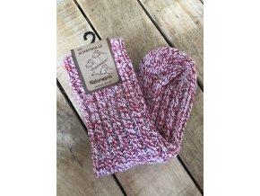 Detské ponožky s prímesou vlny - raspberry (Veľkosť 35 - 38)