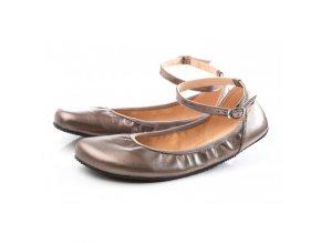 TULIP II Bronze barefoot ballerinas, Wide