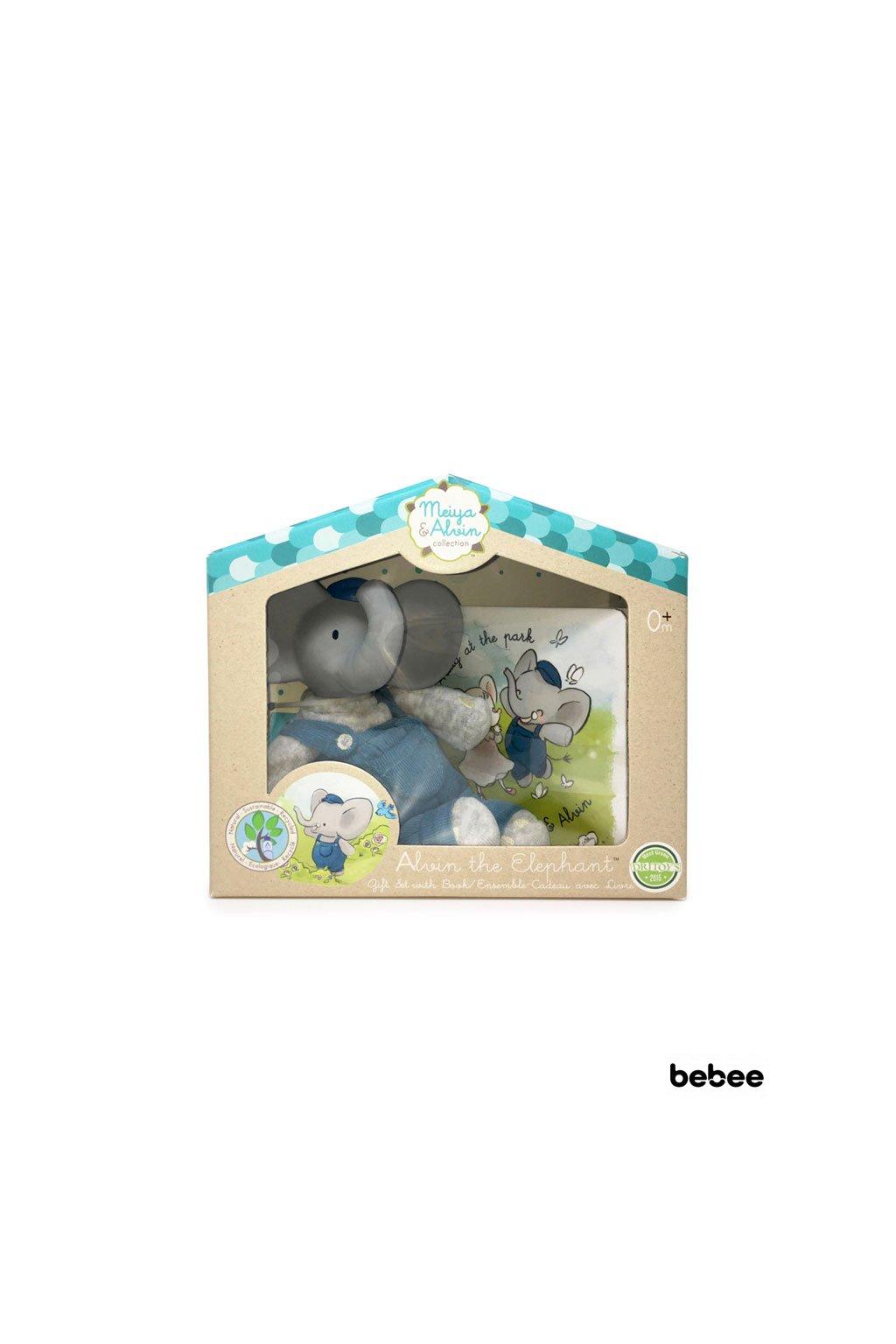 Darcekovy set knizka hracka slonik alvin Meiya&Alvin