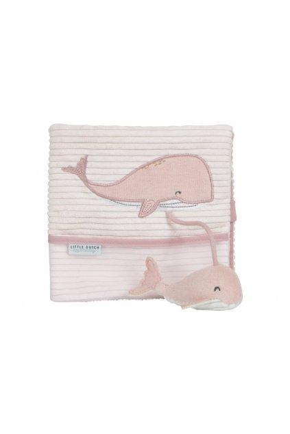Plyšová knižka veľka - veľryba ocean pink | Little Dutch