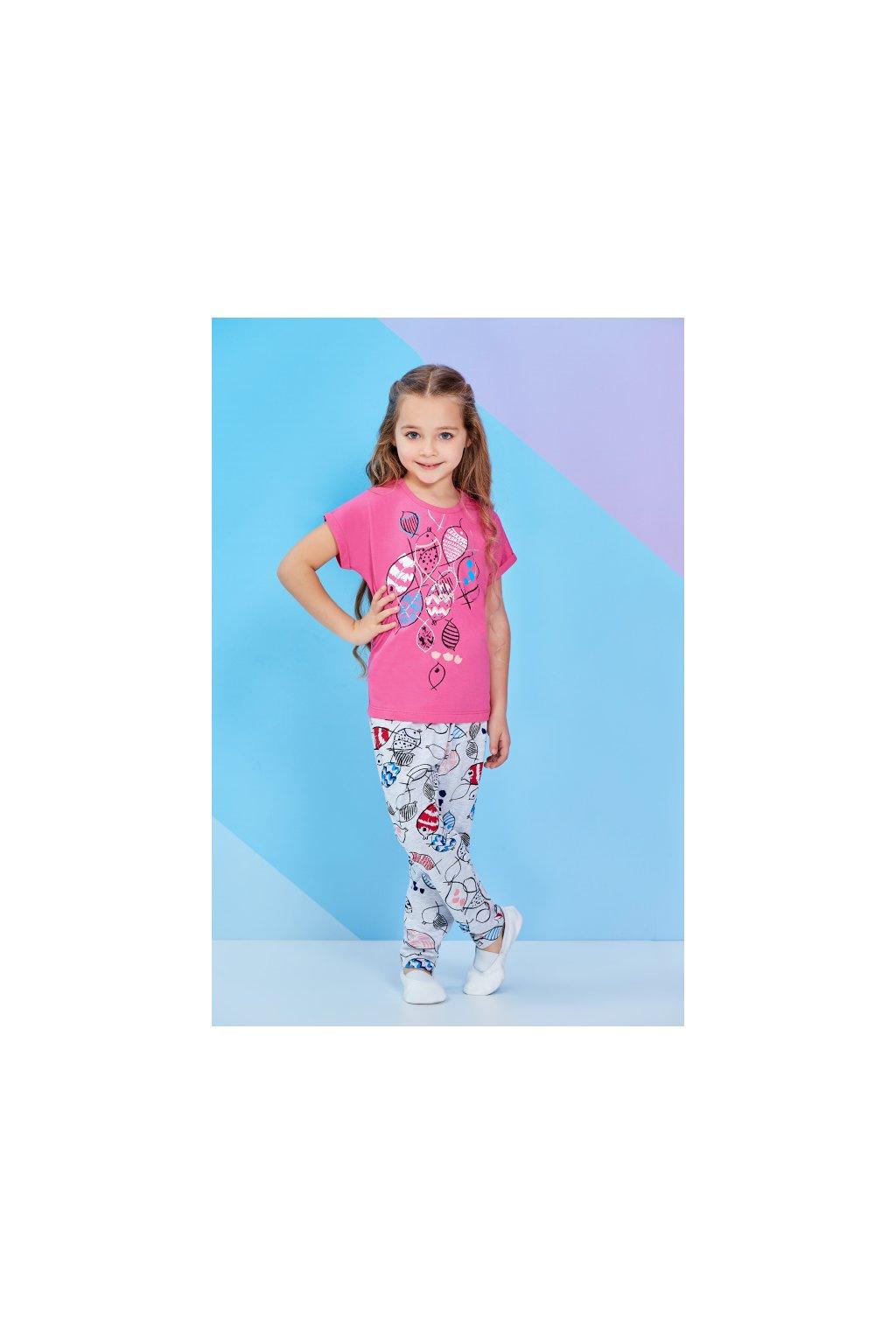 Dívčí pyžamo růžové s rybami