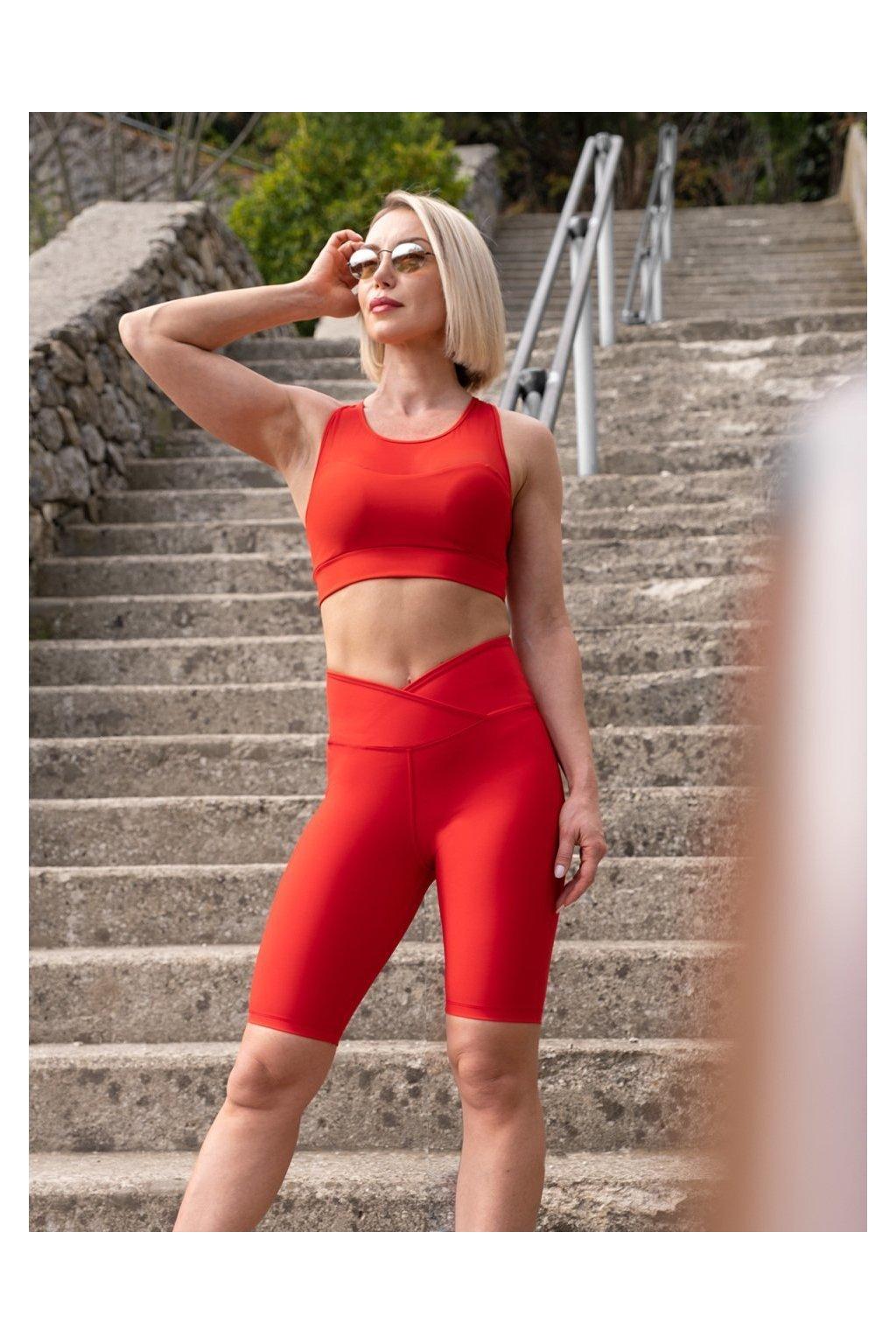 Dámské BIKER kraťasy - vysoký pás V - červené model