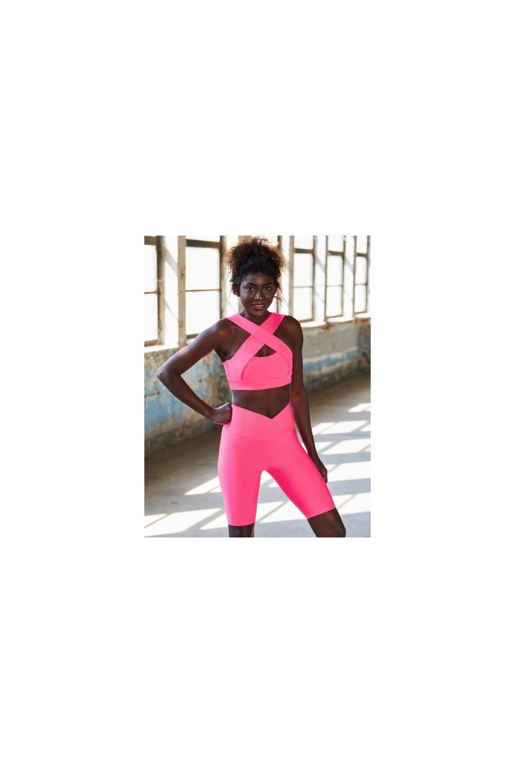 Dámské BIKER kraťasy - vysoký pás V - neon růžové