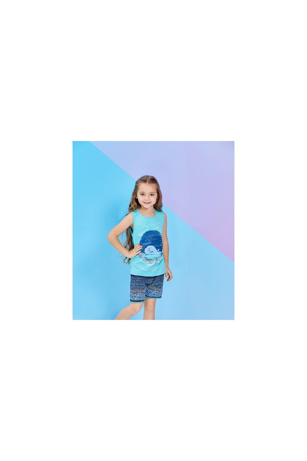 Dívčí pyžamo krátké, světle modré s velrybou