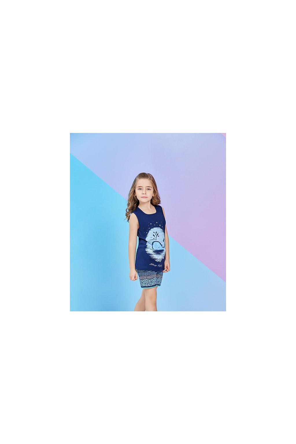 Dívčí pyžamo krátké, tmavě modré s velrybou