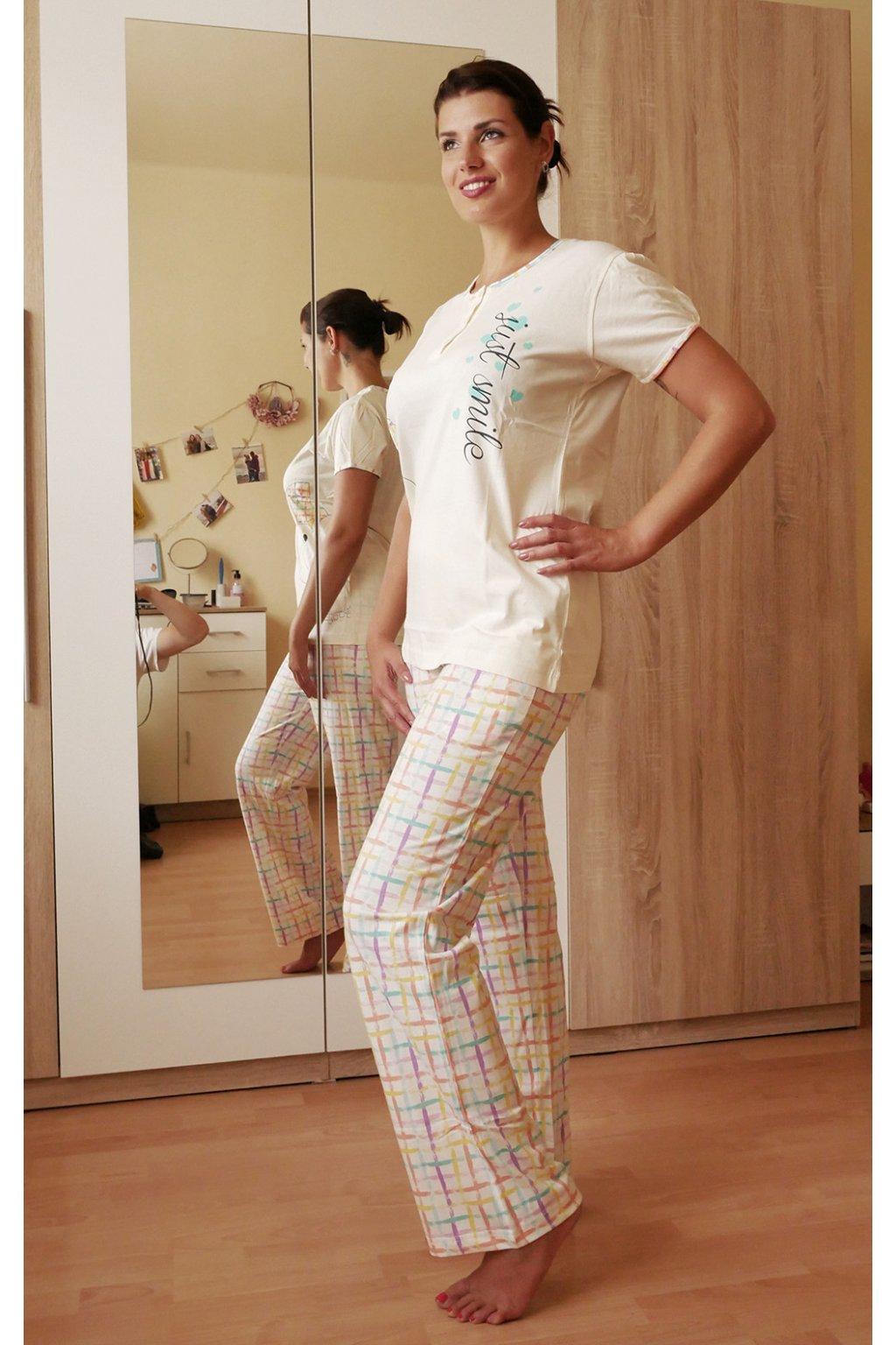 Dámské pyžamo krémové se žabkou z boku