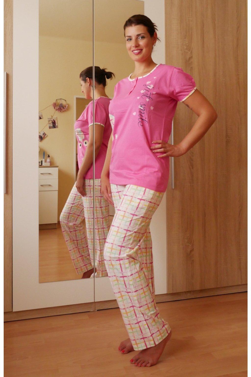 Dámské pyžamo dlouhé, růžové se žabkou z boku