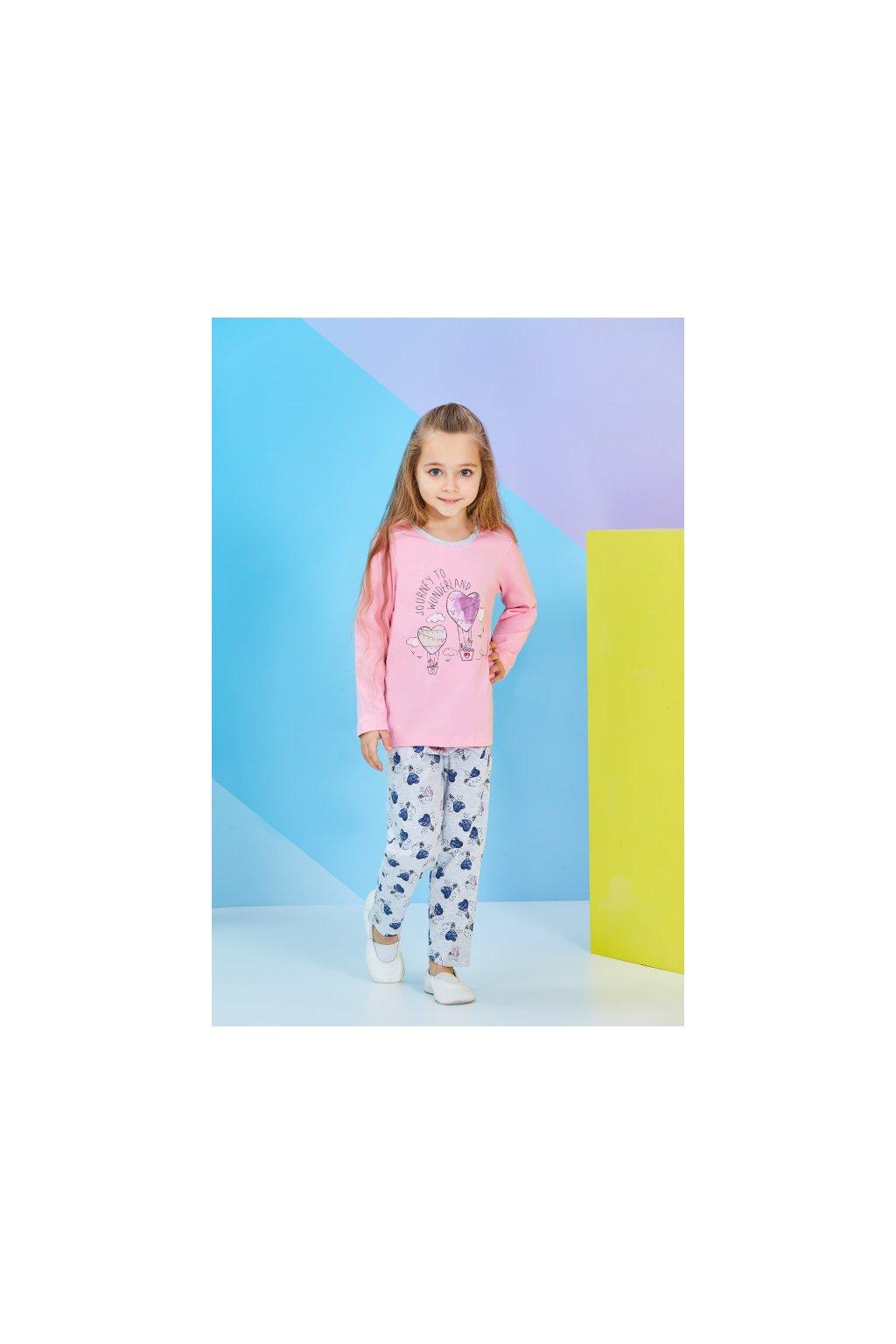 Dívčí pyžamo dlouhé, růžové se srdíčky