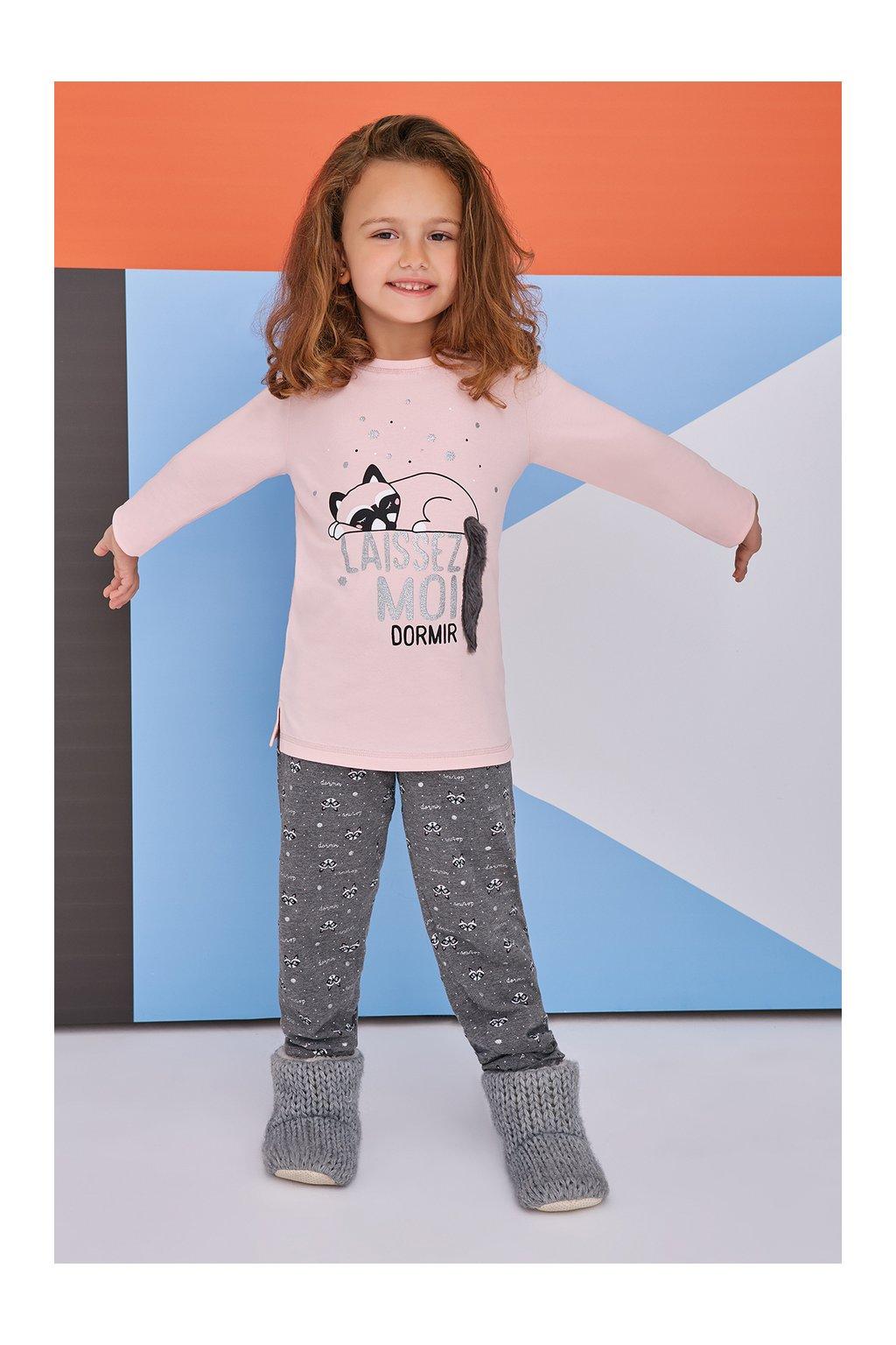 Dívčí pyžamo růžovo-šedé s kočkou