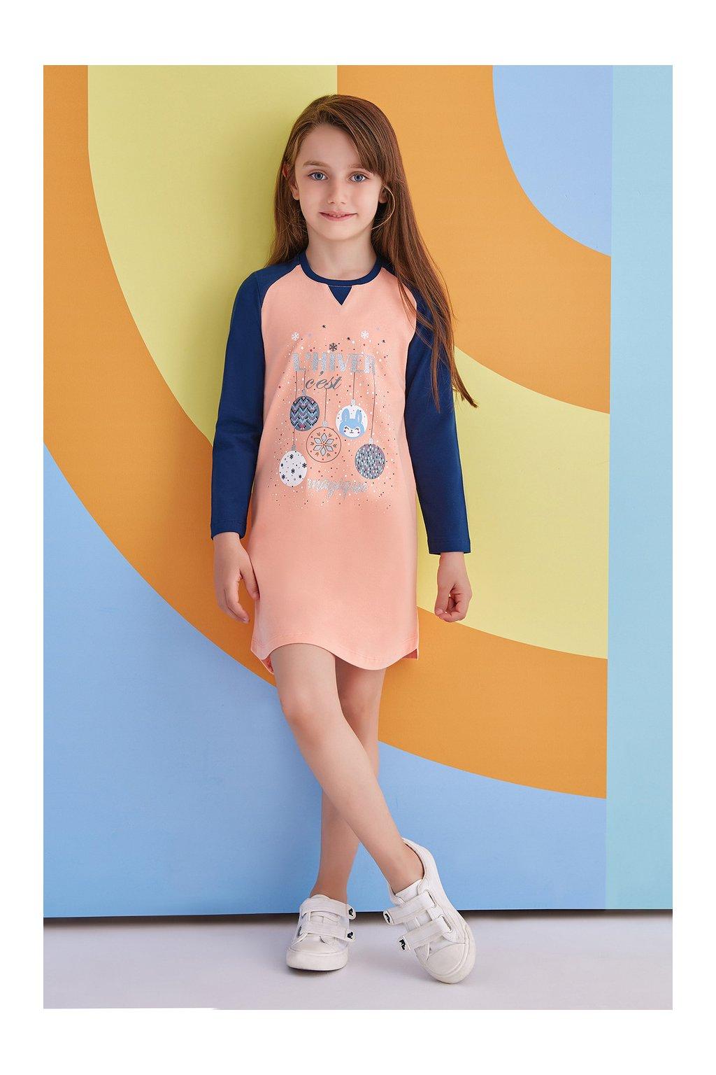 Dívčí košilka oranžovo - modrá
