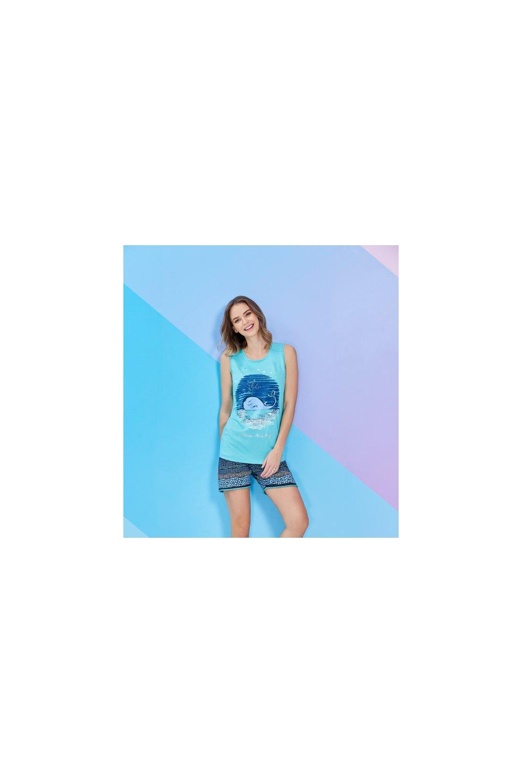 Dámské pyžamo krátké, světle modré s velrybou