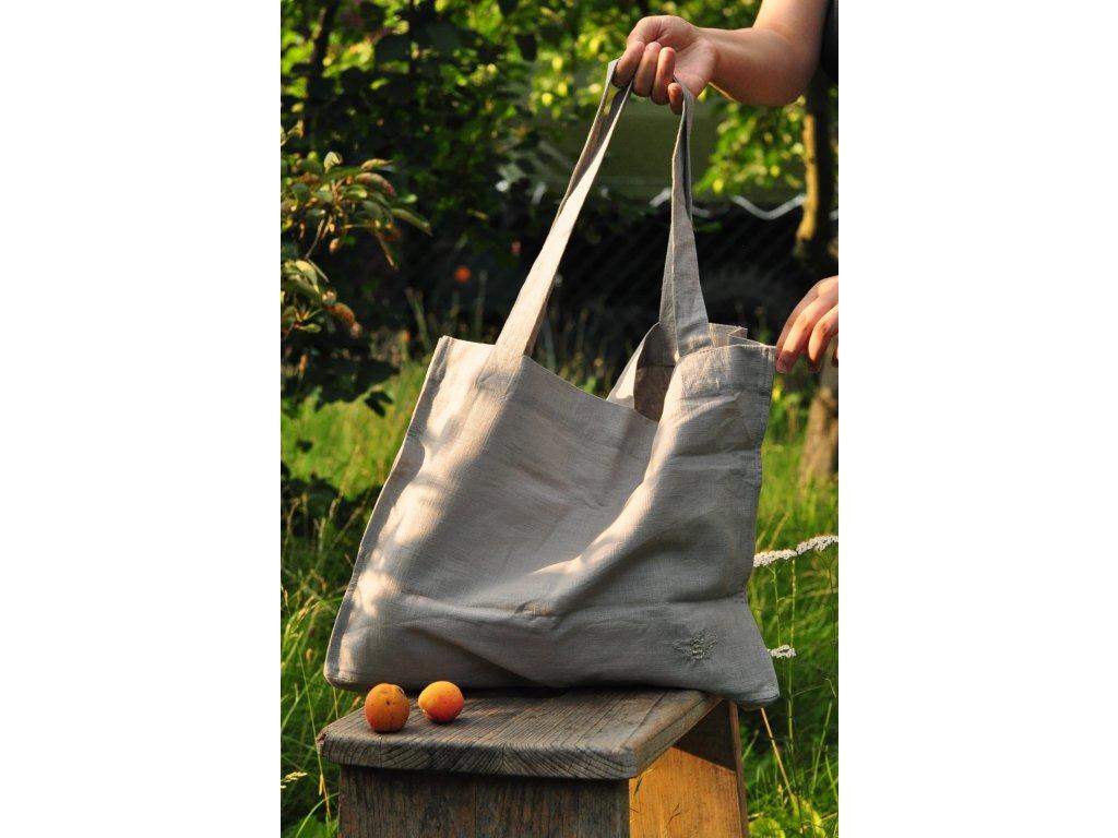 Lněná taška s výšivkou