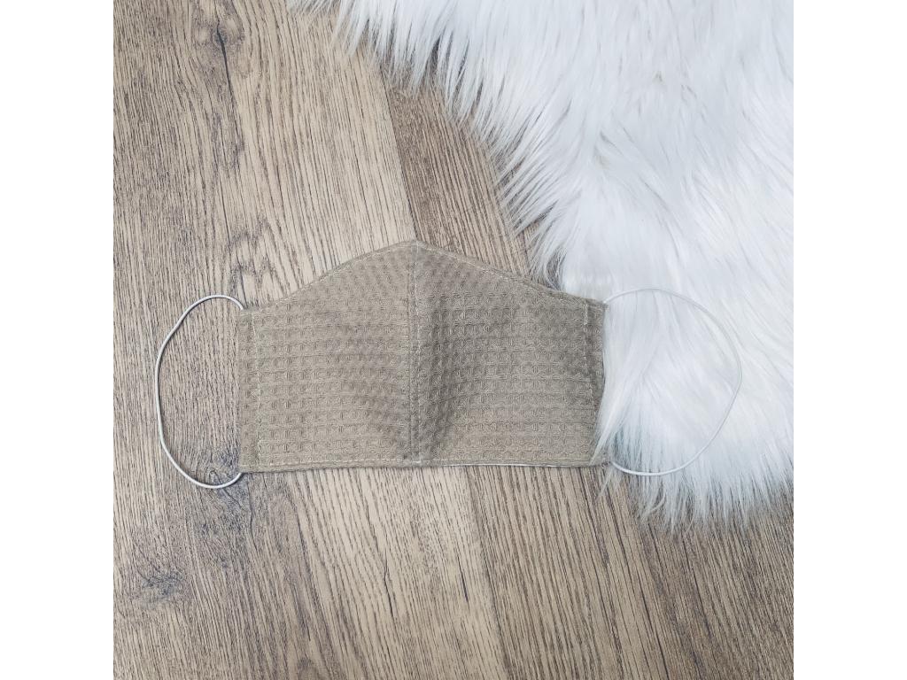 Rouška bavlněná dvouvrstvá s kapsou BEIGE