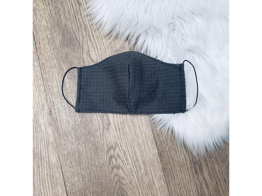 Rouška bavlněná dvouvrstvá s kapsou GREY