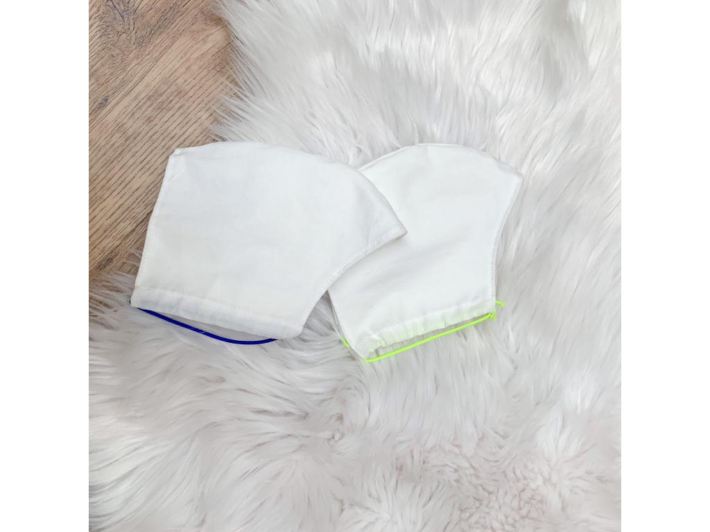 Látková bavlněná rouška WHITE s kapsou