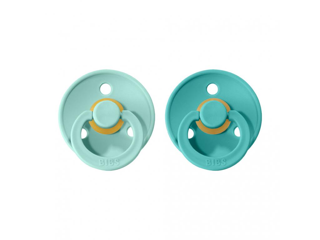 BIBS Colour cumliky z prirodneho kaucuku 2ks Mint+Turquoise