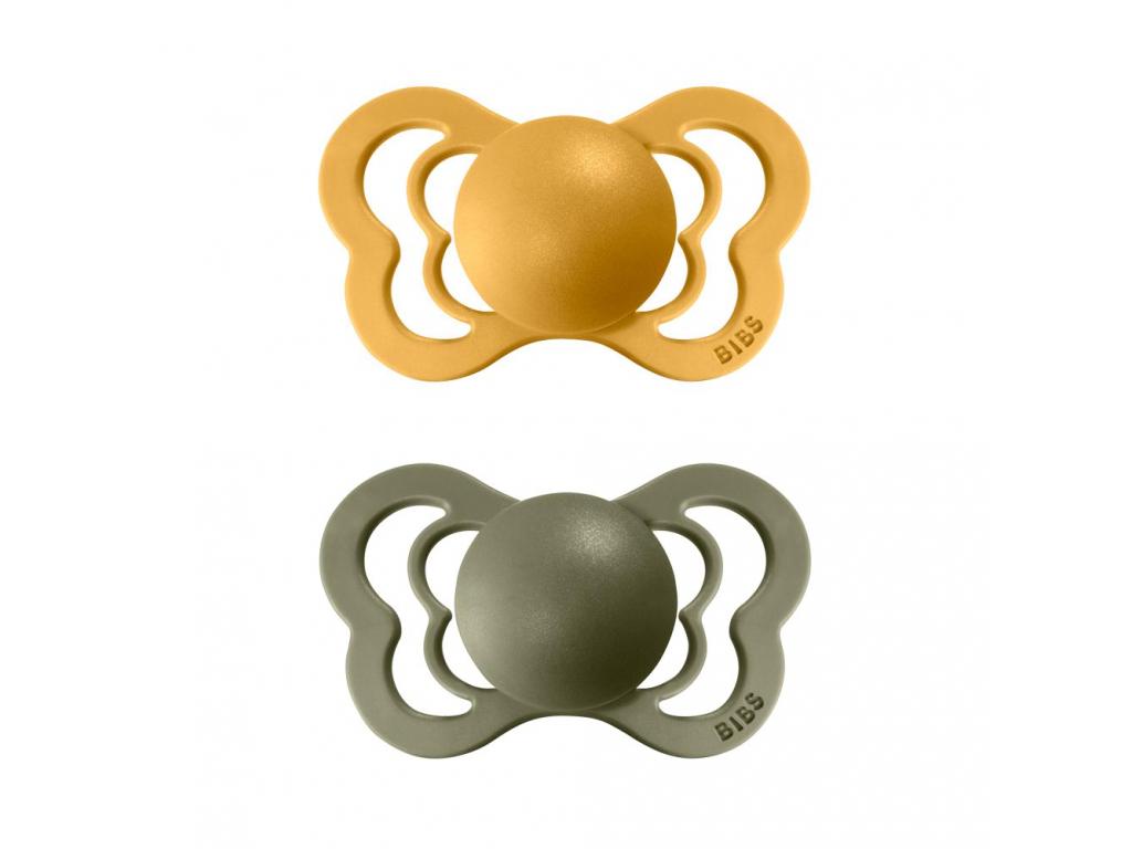 BIBS Couture cumlik z prirodneho kaucuku 2ks HoneyBee+Olive