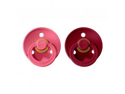 BIBS Colour cumliky z prirodneho kaucuku 2ks Coral+Ruby