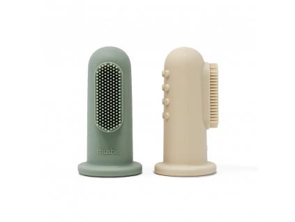 Mushie silikonova zubna kefka na prst 2ks CambridgeBlue+ShiftingSand