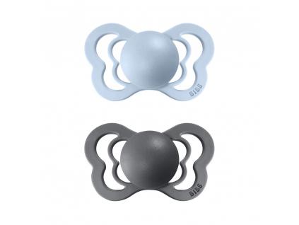 BIBS Couture cumliky z prirodneho kaucuku:zo silikonu 2ks BabyBlue+Iron