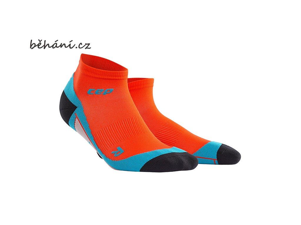 CEP pánské kotníkové běžecké kompresní ponožky - tmavě oranžová / havajská modř (Velikost V (26,5-29 cm obvod kotníku))