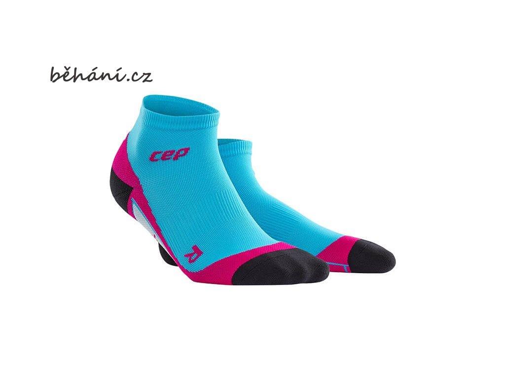 CEP dámské kotníkové běžecké kompresní ponožky - havajská modř / růžová (Velikost IV (39-44 cm obvod lýtka))