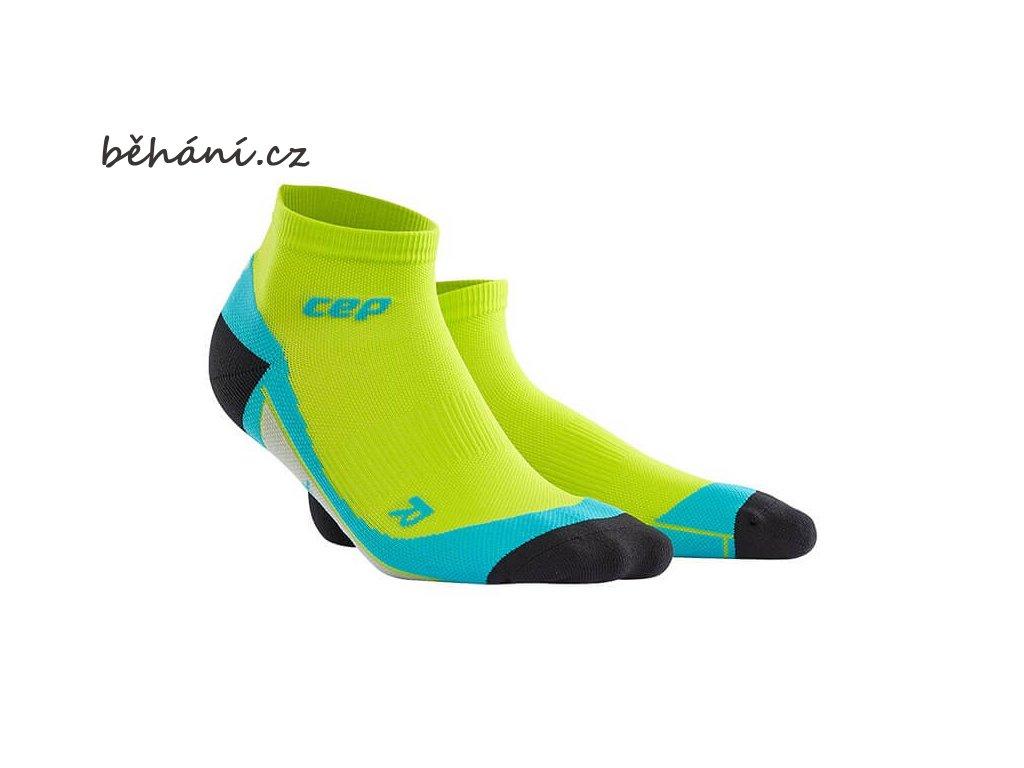 CEP pánské kotníkové běžecké kompresní ponožky - limetková / havajská modř (Velikost V (45-50 cm obvod lýtka))