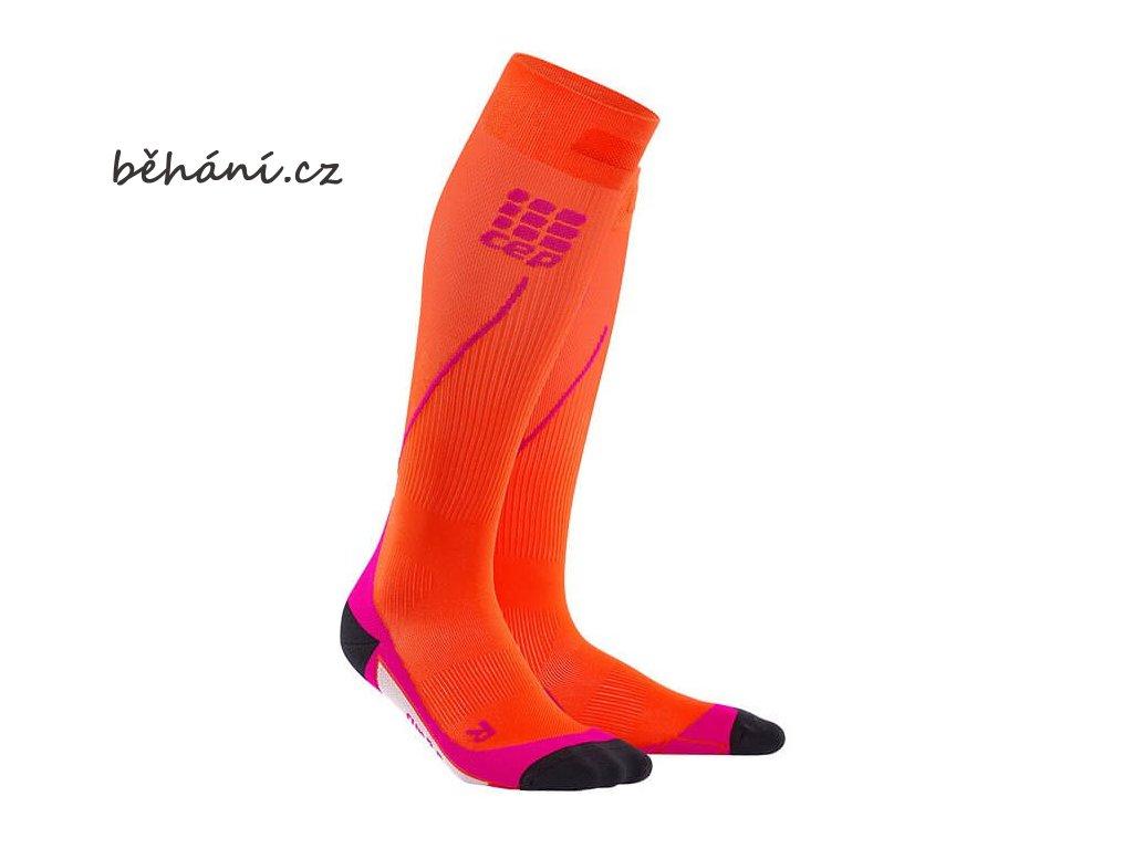 CEP dámské běžecké kompresní podkolenky - tmavě oranžová / růžová (Velikost IV (39-44 cm obvod lýtka))