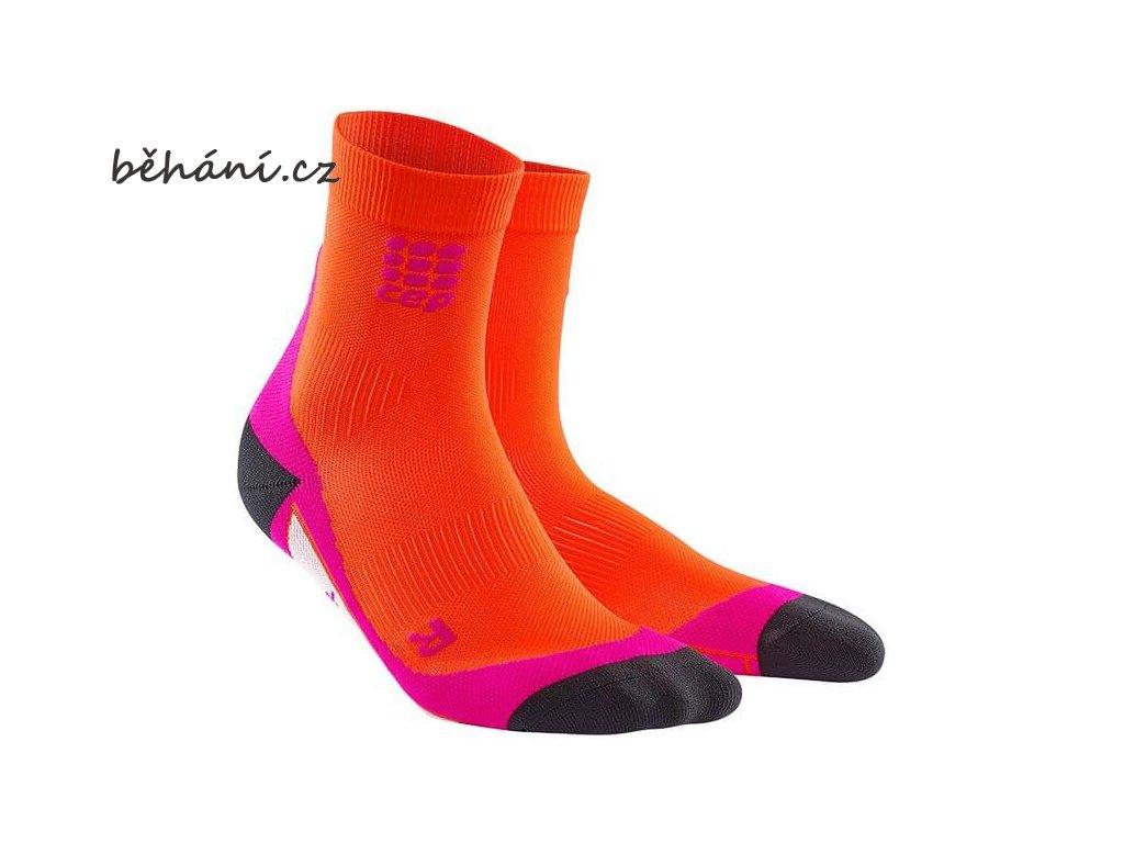 CEP dámské krátké běžecké kompresní ponožky - tmavě oranžová / růžová