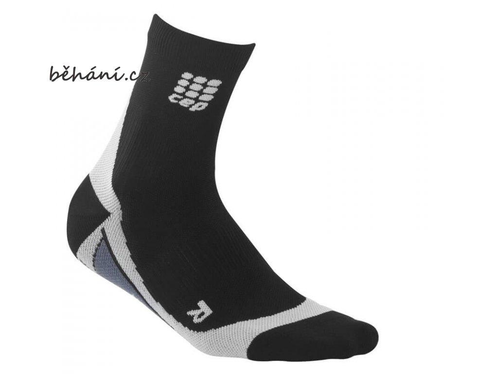 CEP dámské krátké běžecké kompresní ponožky - černá / šedá (Velikost IV (39-44 cm obvod lýtka))