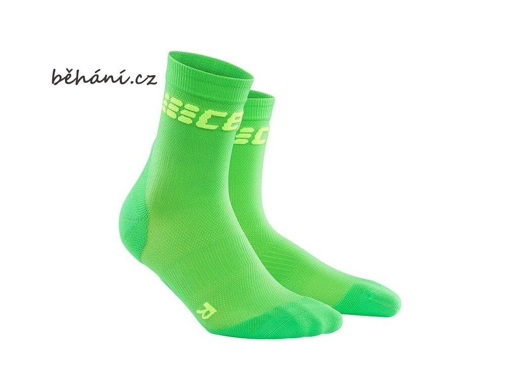 CEP pánské krátké běžecké kompresní ponožky ULTRALIGHT - viper / zelená