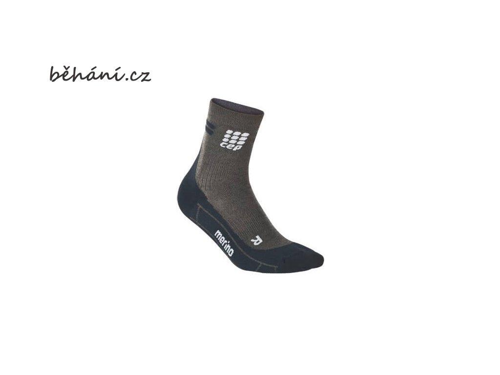 CEP dámské krátké běžecké kompresní ponožky MERINO - antracitová / černá (Velikost IV (39-44 cm obvod lýtka))