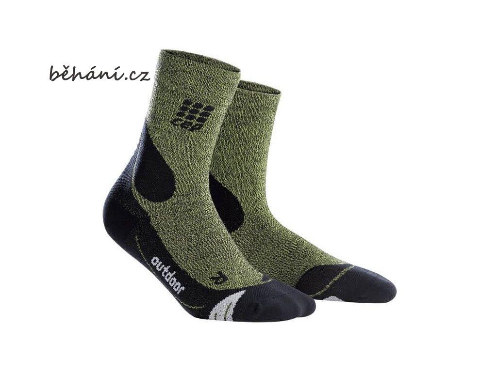 CEP dámské outdoorové ponožky MERINO - zelená / černá