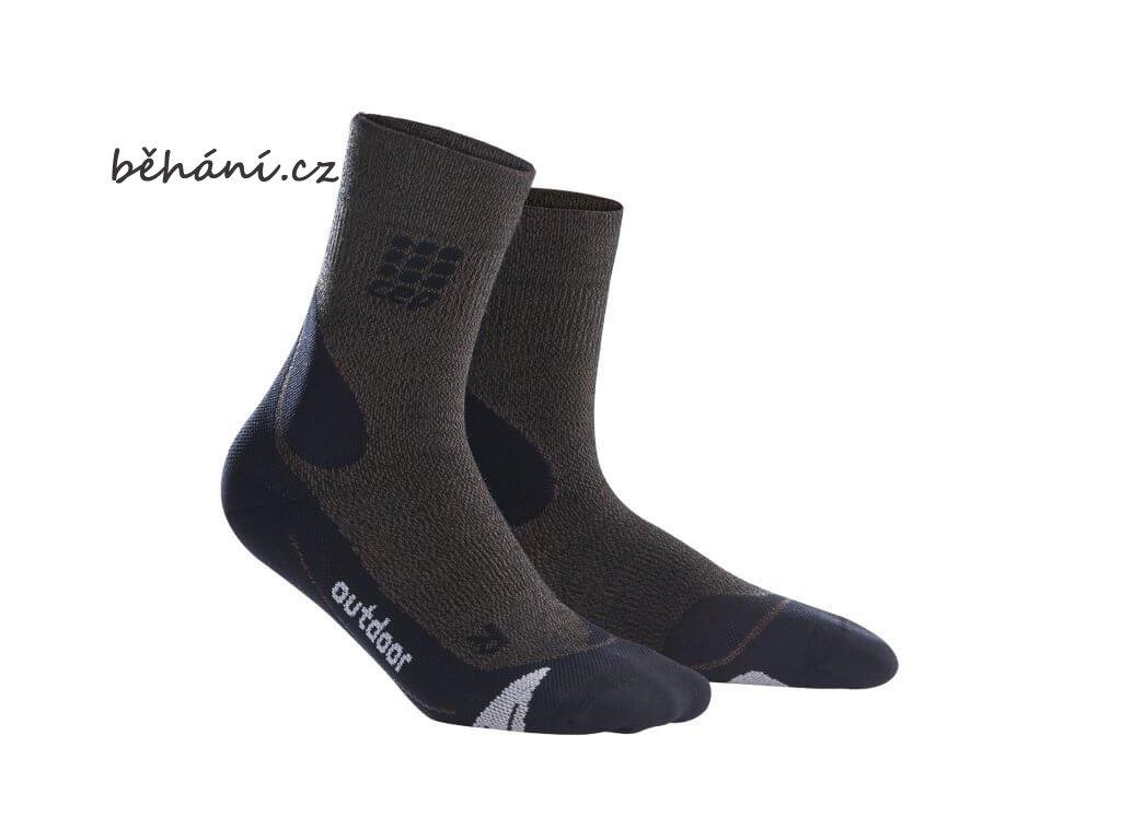 CEP dámské outdoorové ponožky MERINO - hnědá / černá