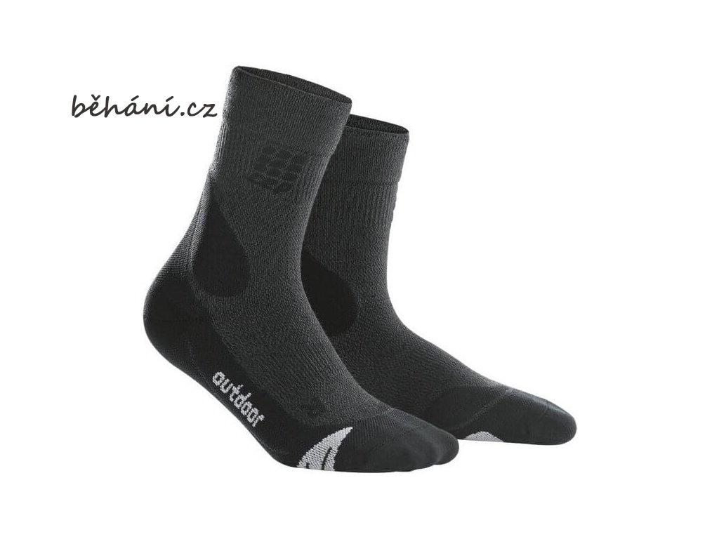 CEP pánské outdoorové ponožky MERINO - šedá / černá