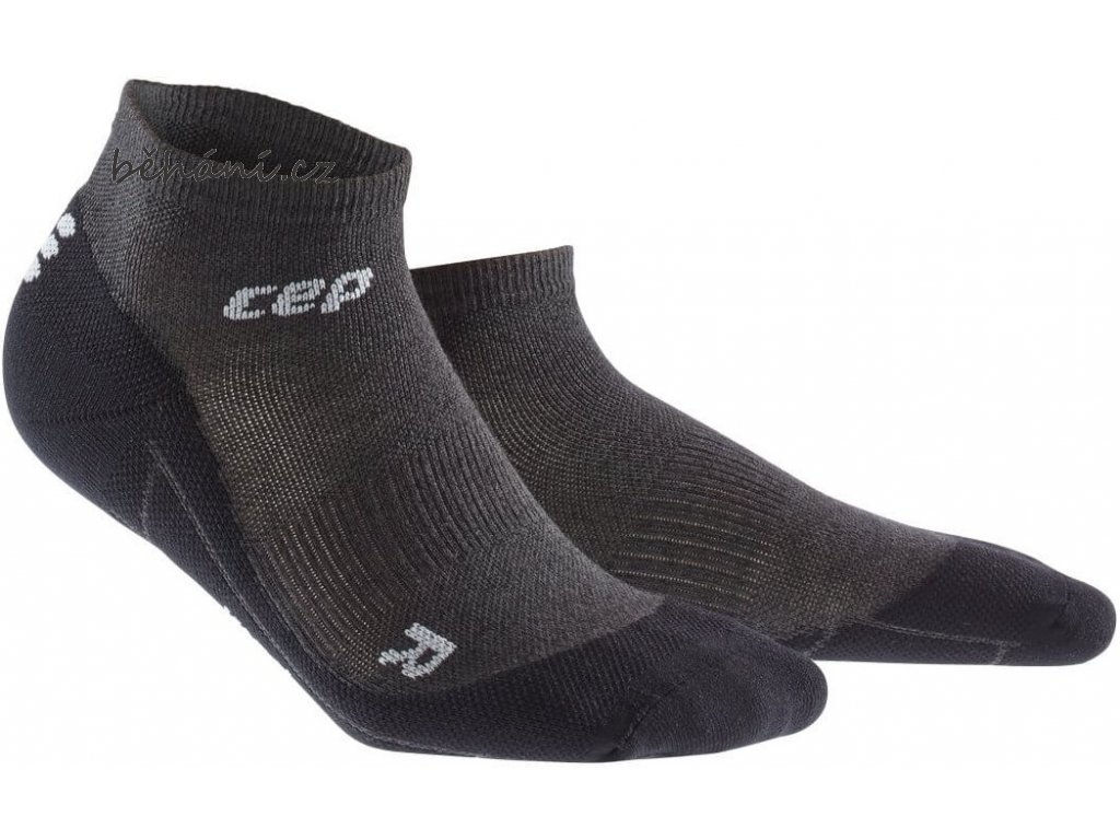 CEP dámské kotníkové běžecké kompresní ponožky MERINO - antracitová / černá