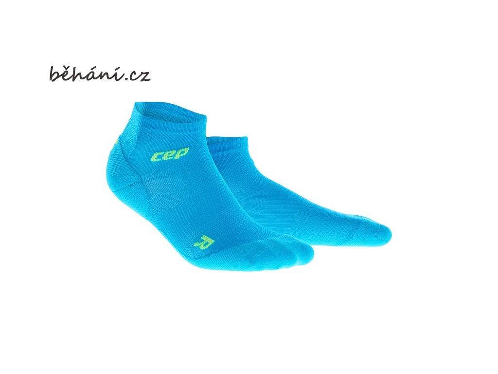 CEP dámské kotníkové běžecké kompresní ponožky ULTRALIGHT - elektrická modř / zelená