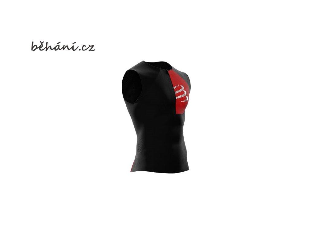 Běžecké tričko Compressport TR3 POSTURAL TANK TOP - černé