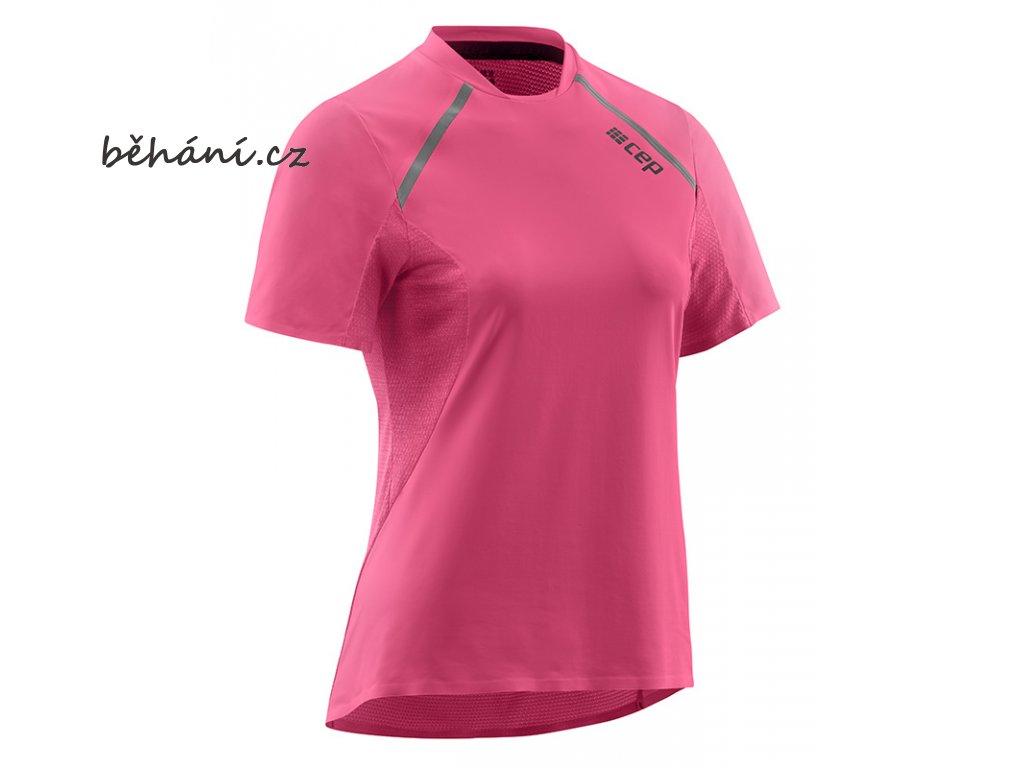 46f474884ca2 CEP dámské běžecké tričko s krátkým rukávem - růžová rose - běhání.cz