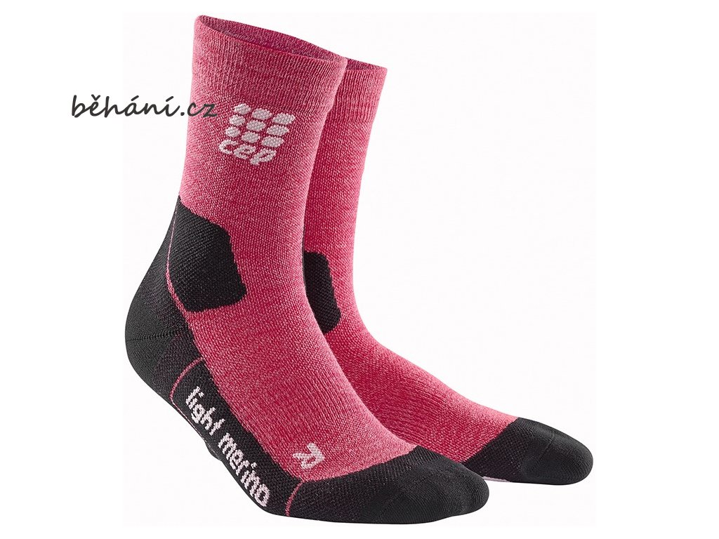 CEP Outdoor Light Merino Mid Cut Socks wild berry WP4CGF w pair